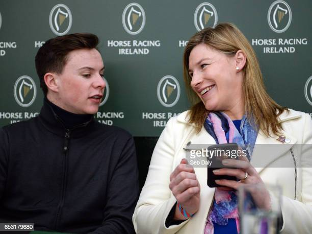 Cheltenham United Kingdom 14 March 2017 Trainer Joseph O'Brien left and jockey Nina Carberry during a press conference prior to the Cheltenham Racing...