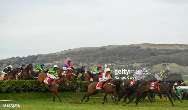 Cheltenham United Kingdom 14 March 2018 A general view of the field during The Boodles Fred Winter Juvenile Handicap Hurdle on Day Two of the...