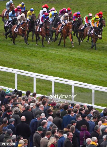 Cheltenham United Kingdom 14 March 2018 A general view of the runners and riders in the Boodles Fred Winter Juvenile Handicap Hurdle on Day Two of...