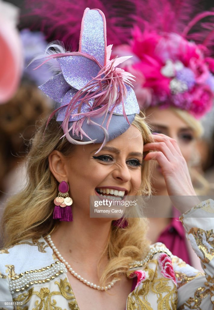 Cheltenham , United Kingdom - 14 March 2018; A racegoer arrives for Ladies Day ahead of racing on Day Two of the Cheltenham Racing Festival at Prestbury Park in Cheltenham, England.