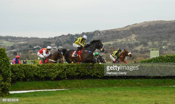 Cheltenham United Kingdom 14 March 2018 Beeves with Sean Quinlan up jumps a fence during The Boodles Fred Winter Juvenile Handicap Hurdle on Day Two...