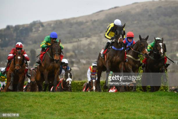 Cheltenham United Kingdom 14 March 2018 Beeves with Sean Quinlan up leads the field during The Boodles Fred Winter Juvenile Handicap Hurdle on Day...