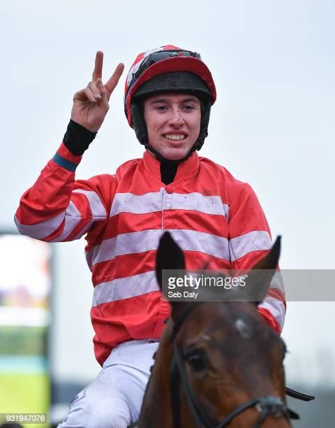 Cheltenham United Kingdom 14 March 2018 Jockey Jack Kennedy celebrates after winning the Boodles Fred Winter Juvenile Handicap Hurdle on Veneer of...