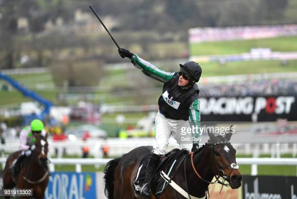 Cheltenham United Kingdom 14 March 2018 Jockey Nico de Boinville celebrates after winning The Betway Queen Mother Champion Steeple Chase on Altior on...