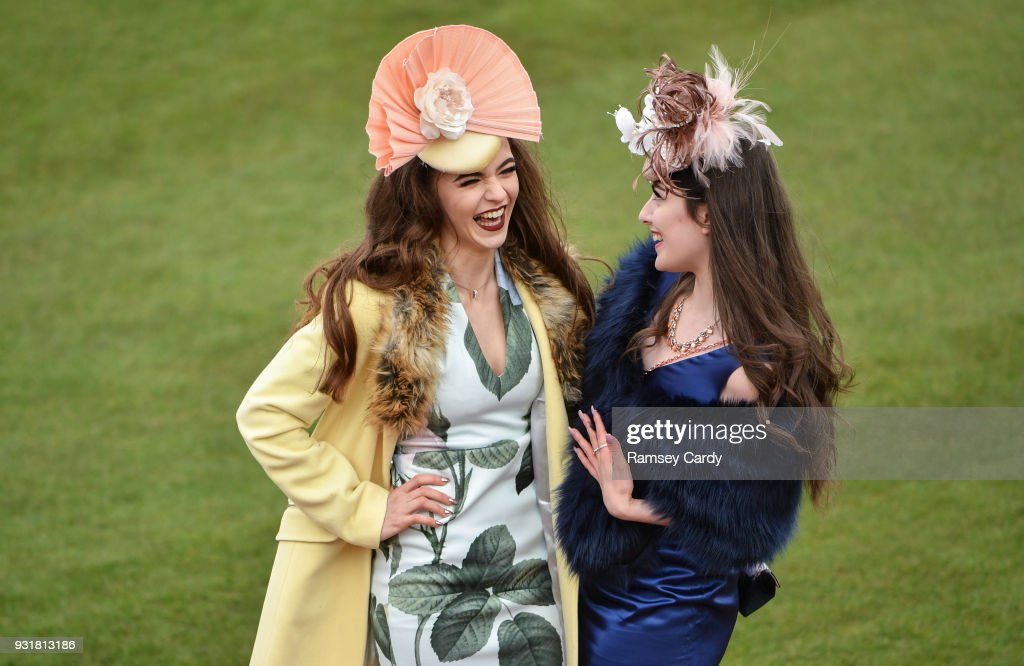 Cheltenham , United Kingdom - 14 March 2018; Racegoers arrive for Ladies Day ahead of racing on Day Two of the Cheltenham Racing Festival at Prestbury Park in Cheltenham, England.