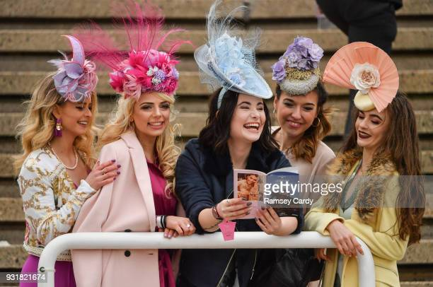 Cheltenham United Kingdom 14 March 2018 Racegoers arrive for Ladies Day ahead of racing on Day Two of the Cheltenham Racing Festival at Prestbury...