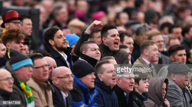 Cheltenham United Kingdom 14 March 2018 Racegoers react during the Betway Queen Mother Champion Steeple Chase on Day Two of the Cheltenham Racing...