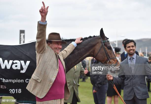 Cheltenham United Kingdom 14 March 2018 Trainer Nicky Henderson celebrates after sending out Altior to win the Betway Queen Mother Champion Steeple...