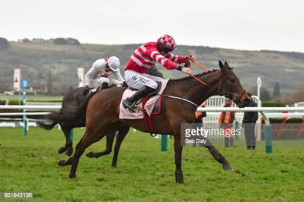 Cheltenham United Kingdom 14 March 2018 Veneer Of Charm with Jack Kennedy up on their way to winning The Boodles Fred Winter Juvenile Handicap Hurdle...