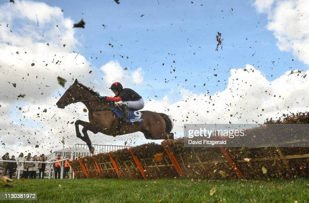 Cheltenham United Kingdom 14 March 2019 Culture De Sivola with Lizzie Kelly up jumps the last during the Pertemps Network Final Handicap Hurdle on...