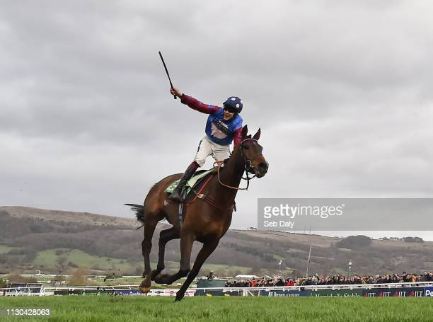 Cheltenham United Kingdom 14 March 2019 Jockey Aidan Coleman celebrates as he crosses the line to win the Sun Racing Stayers' Hurdle on Paisley Park...