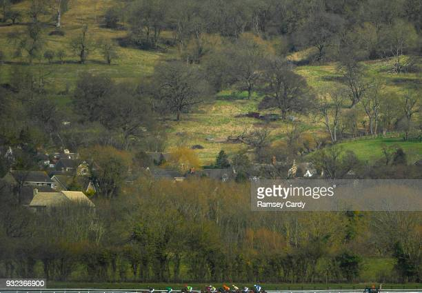 Cheltenham United Kingdom 15 March 2018 A general view during the JLT Novices Chase on Day Three of the Cheltenham Racing Festival at Prestbury Park...