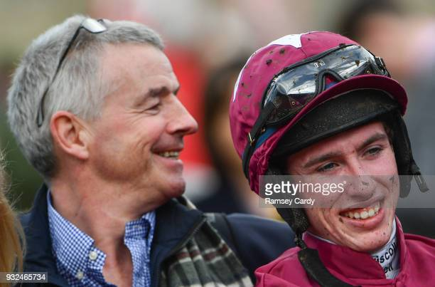 Cheltenham United Kingdom 15 March 2018 Jockey Jack Kennedy and owner Michael O'Leary after winning the JLT Novices Chase with Shattered Love on Day...