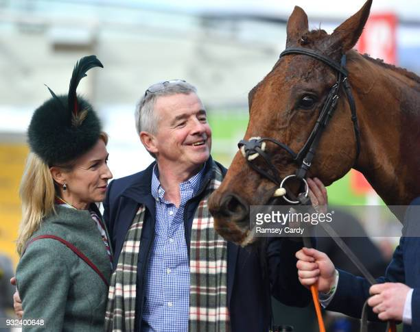 Cheltenham United Kingdom 15 March 2018 Owner Michael O'Leary and his wife Anita celebrate with Balko Des Flos after winning the Ryanair Steeple...