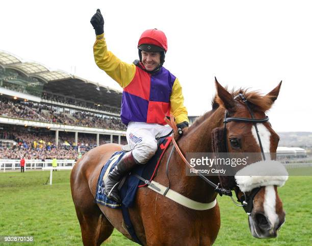 Cheltenham United Kingdom 16 March 2018 Jockey Richard Johnson celebrates after winning the Timico Cheltenham Gold Cup Steeple Chase on Native River...