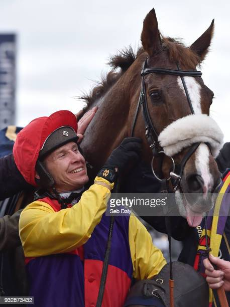Cheltenham United Kingdom 16 March 2018 Jockey Richard Johnson after winning the Timico Cheltenham Gold Cup Steeple Chase on Native River on Day Four...