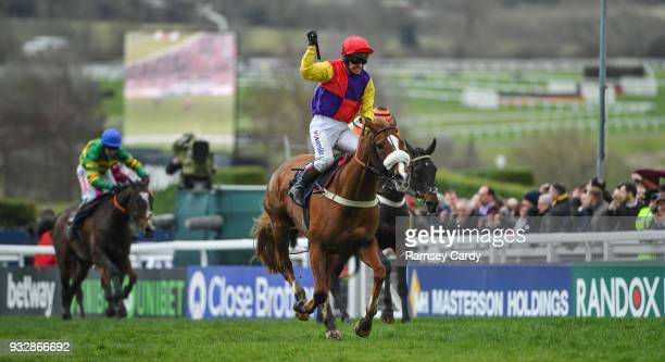 Cheltenham United Kingdom 16 March 2018 Richard Johnson celebrates after winning the Timico Cheltenham Gold Cup Steeple Chase on Native River on Day...