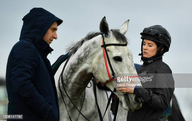 Cheltenham United Kingdom 9 March 2020 Rachael Blackmore with Petit Mouchoir and trainer Henry de Bromhead left on the gallops ahead of the...