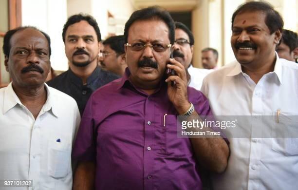 Cheluvaraya Swamy a rebel Janta Dal leader during Rajya Sabha election at Vidhan Soudha on March 23 2018 in Bengaluru India Voting was held for 25 of...