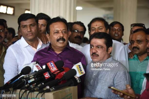 Cheluvaraya Swamy and Zameer Ahmed Khan rebel Janta Dal leaders during Rajya Sabha election at Vidhan Soudha on March 23 2018 in Bengaluru India...