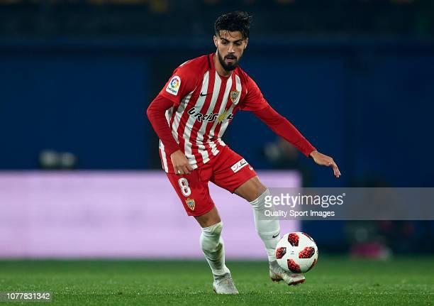 Chema of Almeria runs with the ball during the Spanish Copa del Rey second leg match between Villarreal CF and UD Almeria Estadio de la Ceramica on...