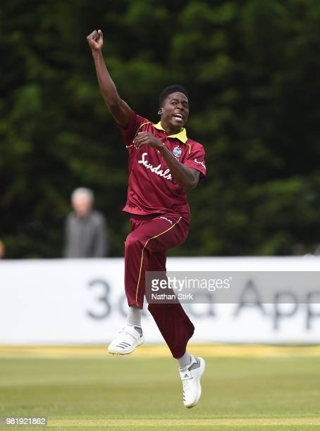 Chemar K Holder celebrates during the TriSeries International match between England Lions and West Indies A at The 3aaa County Ground on June 23 2018...