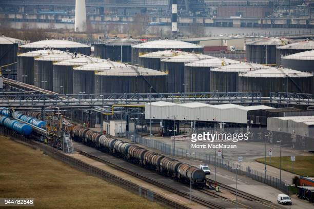 A chemical and mineral oil storage facility is seen at Hamburg Port on April 11 2018 in Hamburg Germany Hamburg Port is Germany's biggest port and...