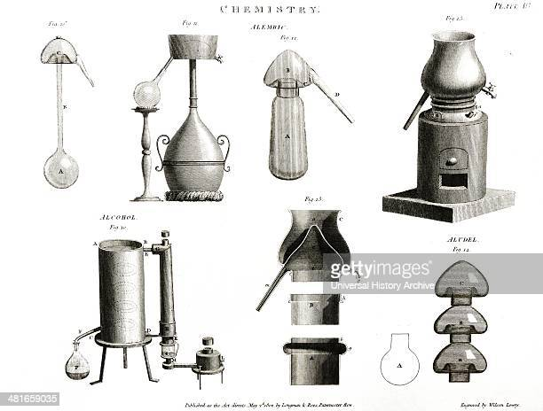 Chemical apparatus used in distillation and sublimation including Alembics and Aludels Engraving London 1802