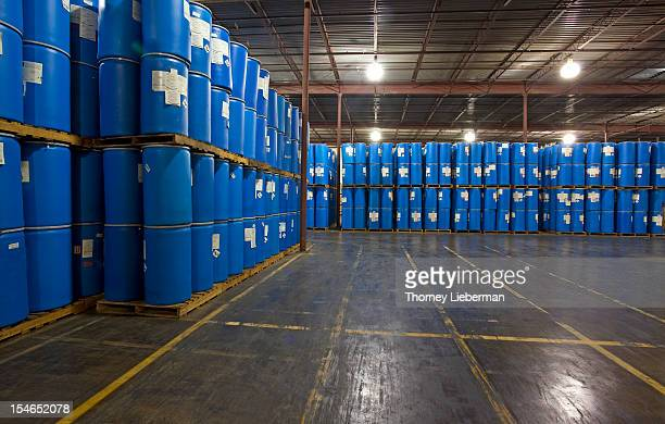 Chemical drums in storage at a warehouse