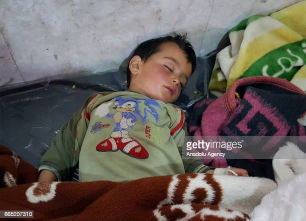 A chemical gas attack survivor receives medical treatment at an hospital in Idlib Syria on April 6 2017 On Tuesday more than 100 civilians had been...