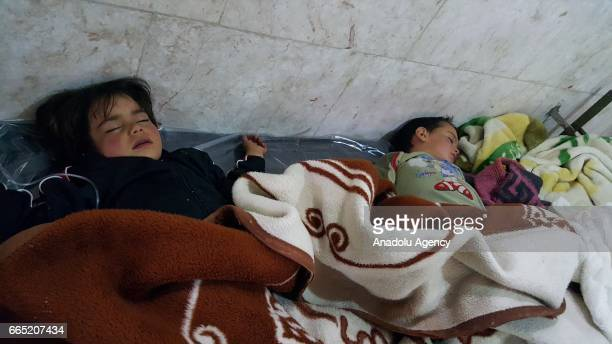 Chemical gas attack survivors receives medical treatment at an hospital in Idlib Syria on April 6 2017 On Tuesday more than 100 civilians had been...