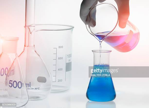 Chemical in a conical flask