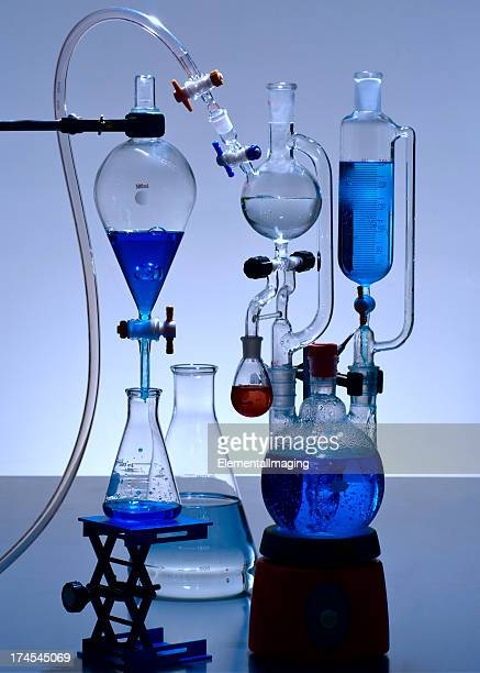 Chemical Laboratory Glassware with Blue Solutions