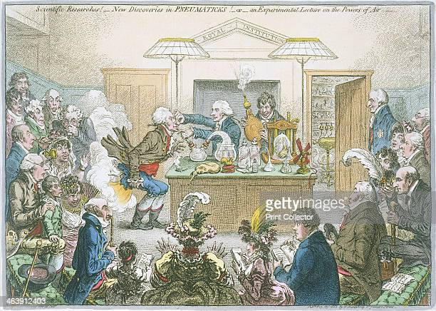 Chemical lecture 'Scientific Researches New Discoveries in Pneumaticks or an Experimental Lecture on the Powers of Air' 1802 A shocked audience...