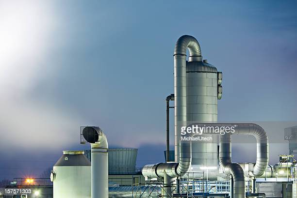 Chemical Plant Detail At Night