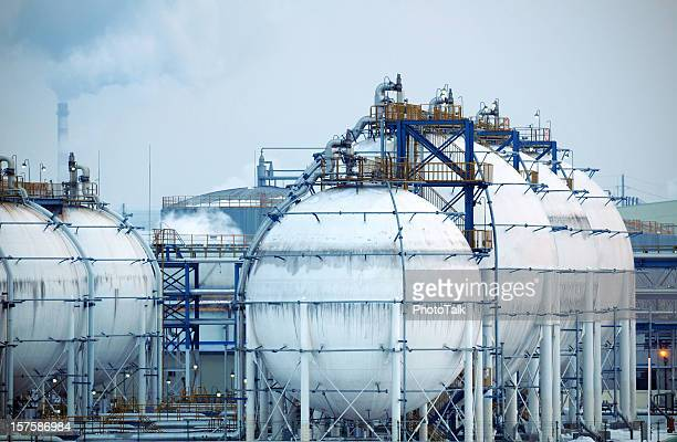 chemical plant night scene - large - acid rain stock photos and pictures