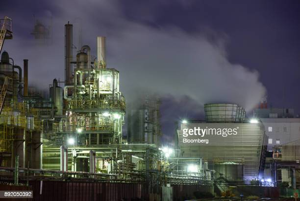 A chemical plant stands illuminated at night in the Keihin industrial area of Kawasaki Kanagawa Prefecture Japan on Tuesday Dec 12 2017 The Bank of...