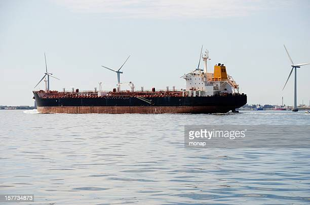 chemical tanker  leaving the port in copenhagen, denmark - oresund region stock photos and pictures