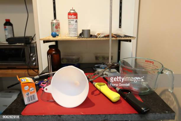 Chemicals and equipment found in a methamphetamine manufacturing lab following a police raid on January 17 2018 in Auckland New Zealand New Zealand...
