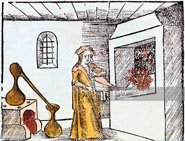 Chemist 1508 A chemist or alchemist is using bellows to heat up the fire under a crucible Behind him an alembic standing on a furnace is being used...