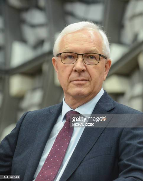 Chemist former head of the Czech Academy of Sciences and candidate for the upcoming presidential election Jiri Drahos attends a debate at the Czech...
