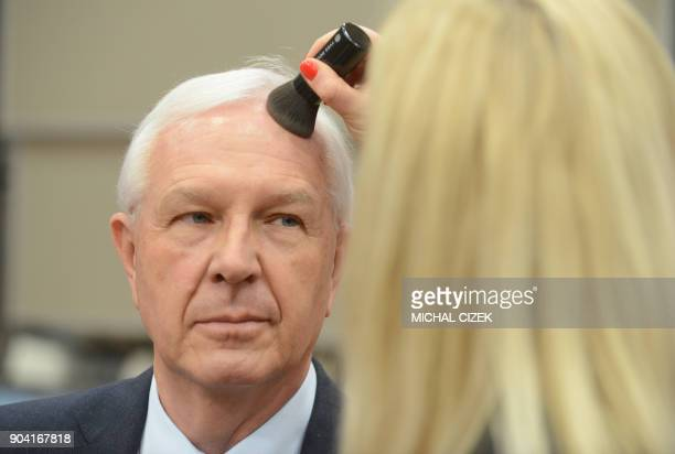 Chemist former head of the Czech Academy of Sciences and candidate for the upcoming presidential election Jiri Drahos is made up prior to a debate at...