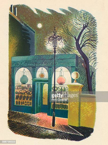 Chemist Shop at Night Coloured Lithograph originally for High Street by Eric Ravilious published 1938 From English Printed Books by Francis Meynell...