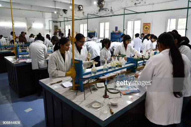 Chemistry class laboratory in Rajas College who is a college of the University of Delhi located in North Campus of the university in New Delhi India...