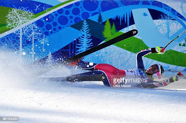 Chemmy Alcott of Great Britain and Northern Ireland falls as she finishes during the Alpine Skiing Ladies Downhill on day 6 of the Vancouver 2010...