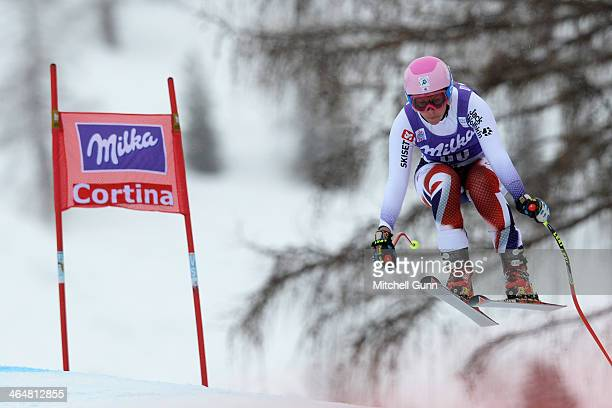 Chemmy Alcott of Great Britain competes during the FIS Alpine Ski World Cup Women's downhill race on January 24 2014 in Cortina d'Ampezzo Italy