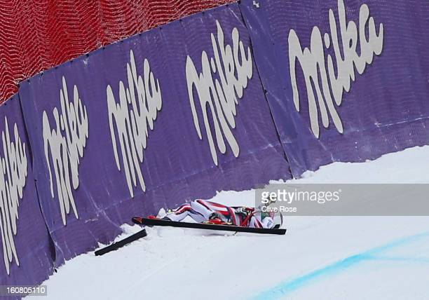 Chemmy Alcott of Great Britain falls and is injured in the Women's Downhill Training during the Alpine FIS Ski World Championships on February 6 2013...