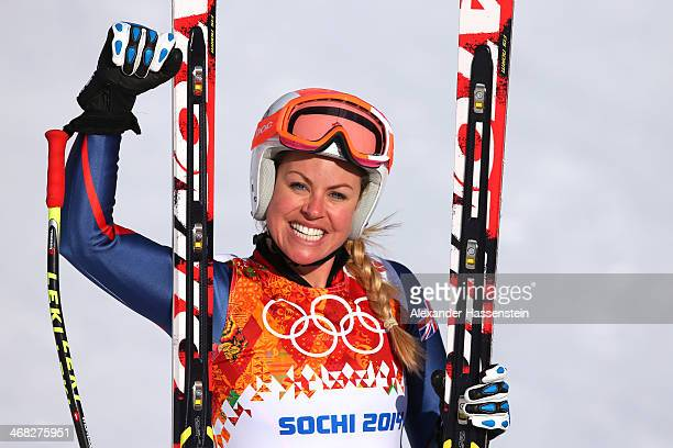 Chemmy Alcott of Great Britain finishes her run during the Alpine Skiing Women's Super Combined Downhill on day 3 of the Sochi 2014 Winter Olympics...