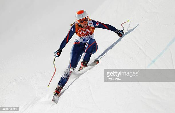 Chemmy Alcott of Great Britain in action during the Alpine Skiing Women's Super Combined Downhill on day 3 of the Sochi 2014 Winter Olympics at Rosa...