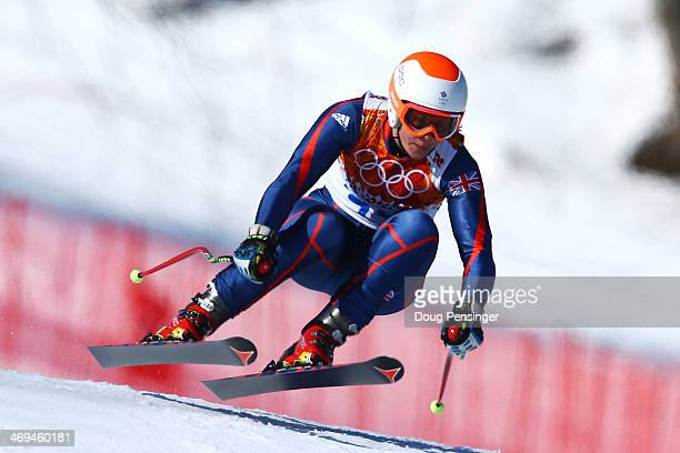 Chemmy Alcott of Great Britain in action during the Alpine Skiing Women's SuperG on day 8 of the Sochi 2014 Winter Olympics at Rosa Khutor Alpine...
